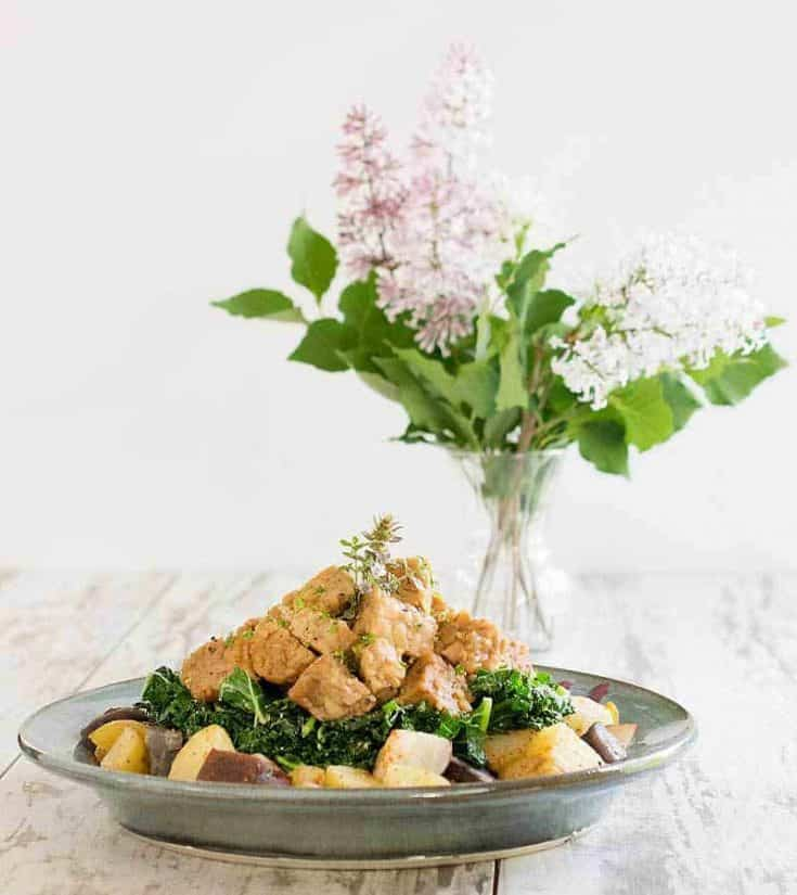 Instant Pot Tempeh, Potato and Kale Bowl - Pot in Pot Method