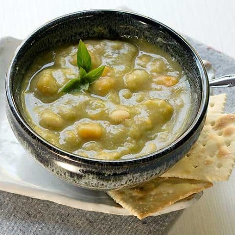 Vegan Instant Pot Split Pea Soup with Sweet Potatoes and Navy Beans