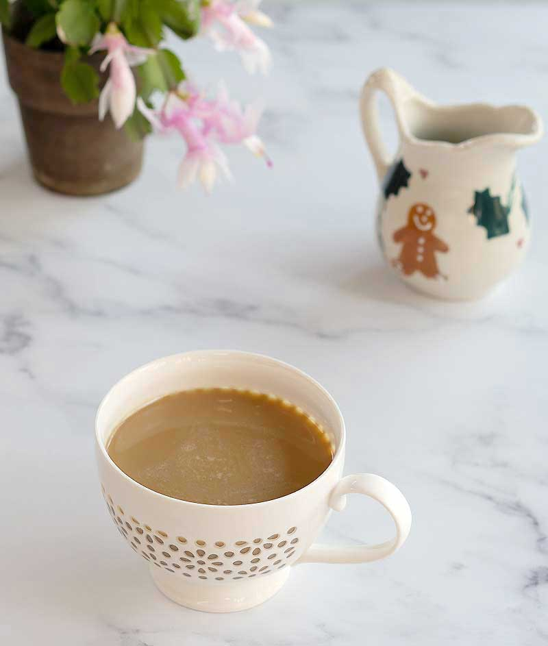 Looking for a few good winter flavors to spice up your coffee, tea, or pancakes? My Instant Pot Gingerbread Syrup is for you! The recipe infuses all the flavors of gingerbread into maple syrup, so there's no processed sugar. It's also great in warmed nondairy milk as a hot chocolate alternative.
