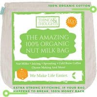 The Amazing Organic Cotton Nut Milk Bag W/Food Grade Cheesecloth by Things&Thoughts | Eco Friendly Reusable Strainer for Almond Milk, Oat Milk, Juicing, Yogurt, Cheese Making, Cold Brew Coffee & Tea