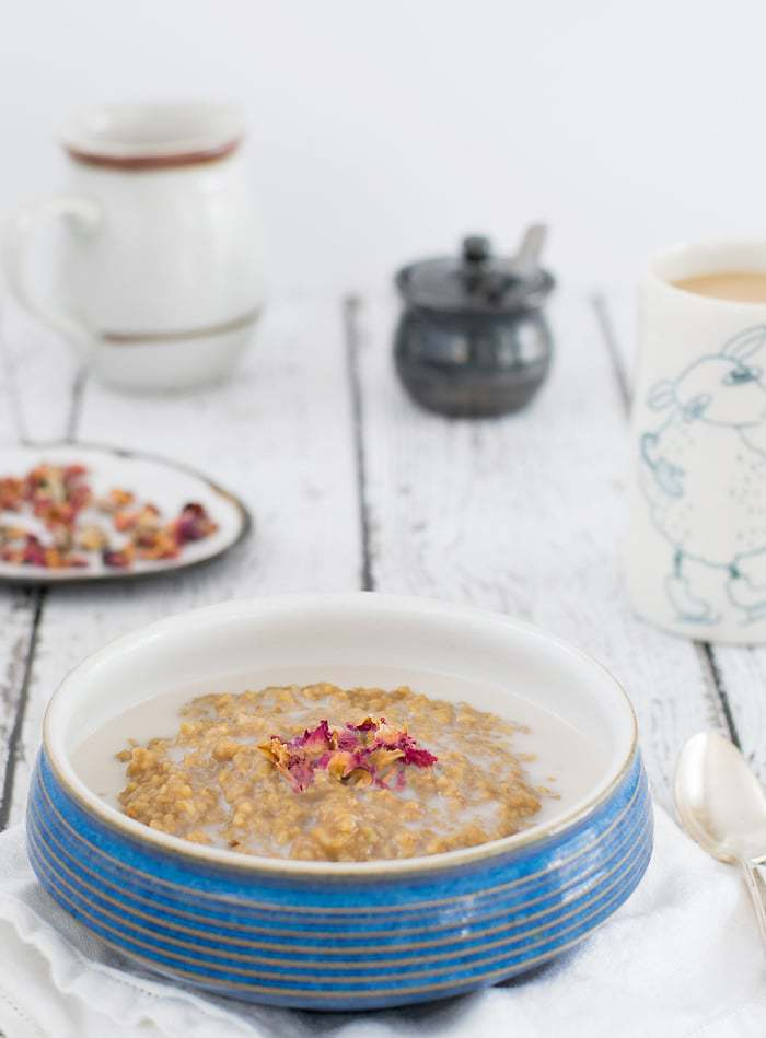 Instant Pot Steel Cut Oats Cooked with Earl Grey Tea