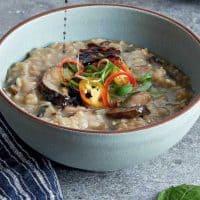 Mushroom Congee (Rice Porridge)