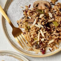 Brown and Wild Rice Pilaf with Mushrooms and Snow Peas