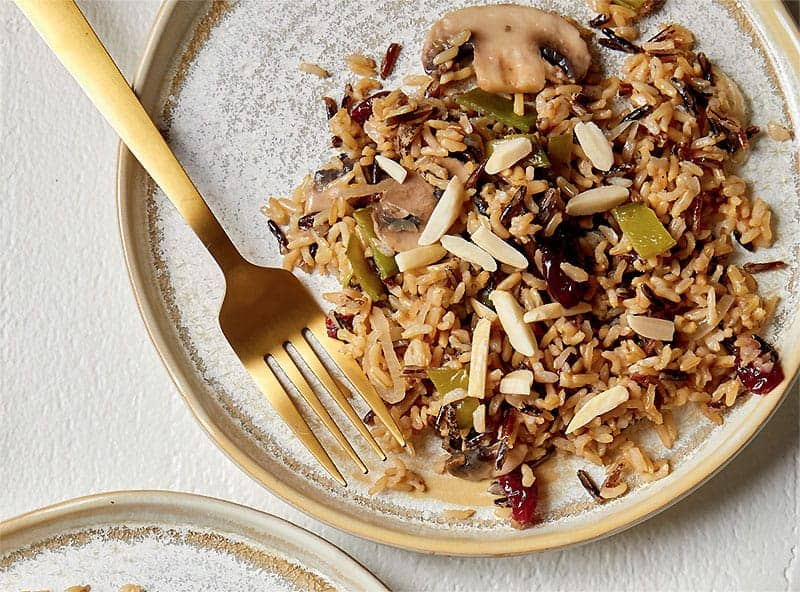 Instant Pot Wild Rice Pilaf with Mushrooms and Snow peas and Almonds