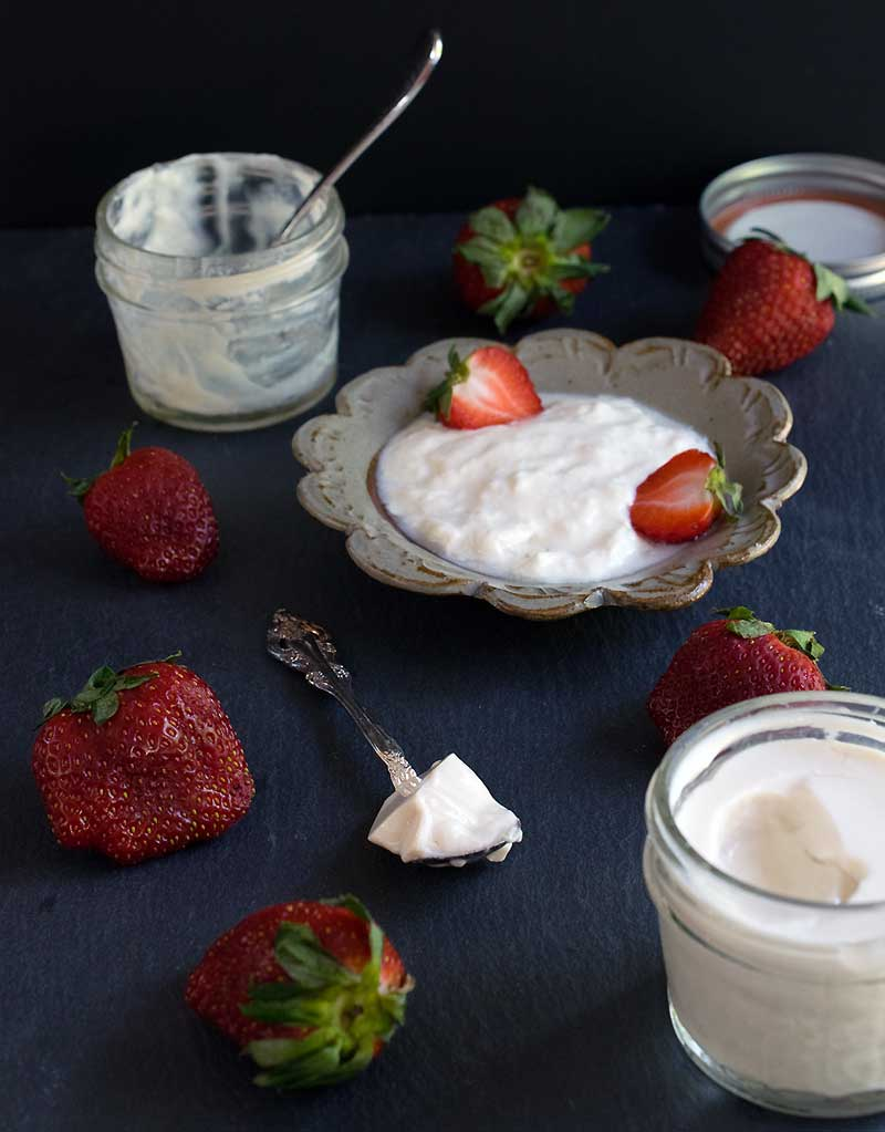 Homemade soy yogurt in your Instant Pot served in a ceramic dish with fresh strawberries.