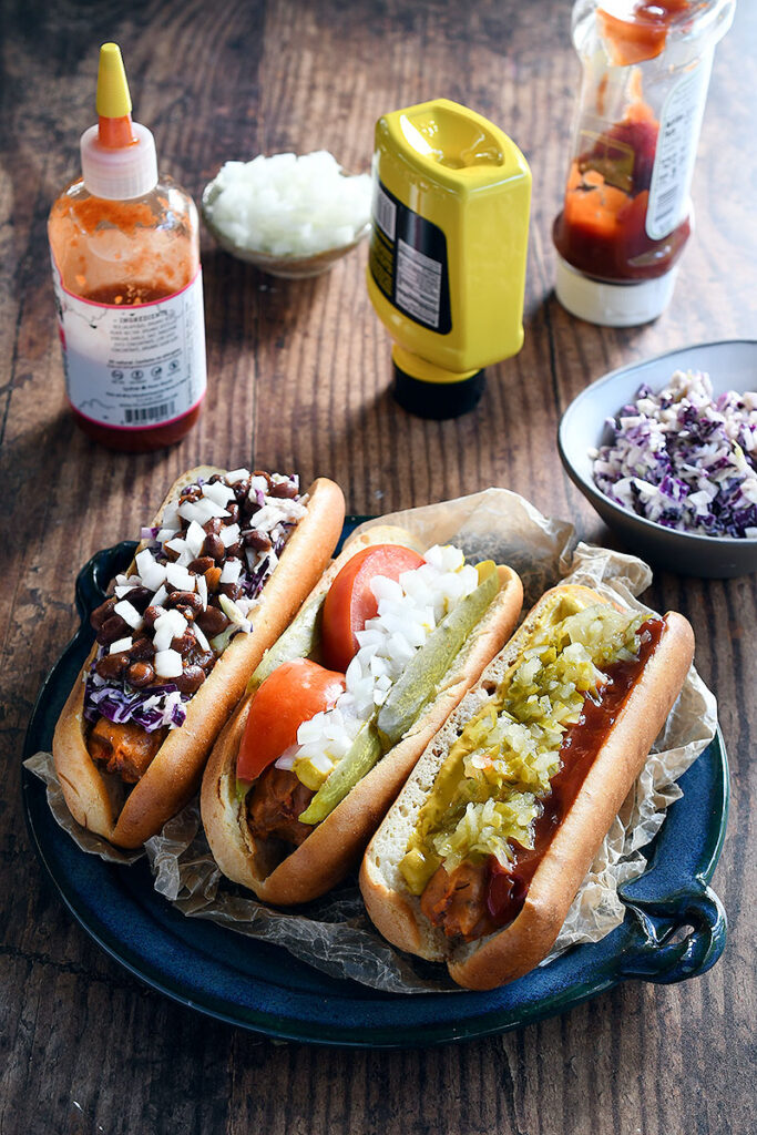 An assortment of gf plant based hot dogs.