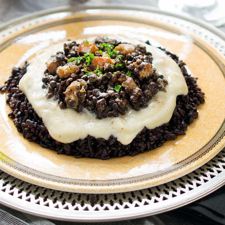 Instant Pot Black Lentils and Forbidden Rice with Cauliflower and Butternut Squash