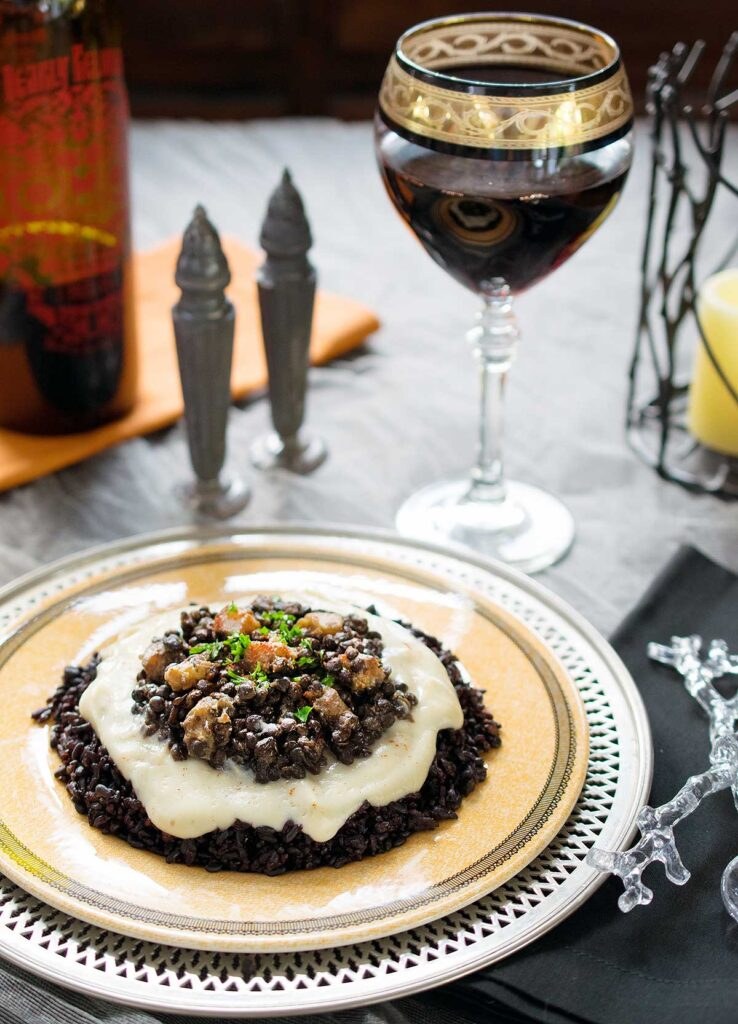 Black rice is actually great for you and is a whole grain, beluga lentils cook quickly and butternut squash paints on some bright colors. The cauliflower puree is the base for the sauce that ties it all together.